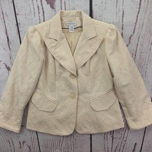 Worthington Ivory Quilted Blazer Jacket Size 14
